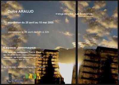 Convite Exposição Regars Urbains Dulce Araújo - Espace Jemmapes