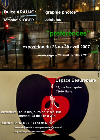 Exposição Preferences - Dulce Araujo - Espace Beaurepaire